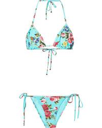 Top de bikini estampado en turquesa de Dolce & Gabbana