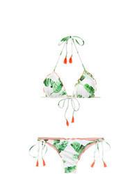Top de bikini estampado en verde menta