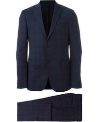 Traje de lana a cuadros azul marino de Z Zegna