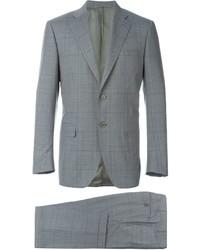 Traje de lana a cuadros gris de Canali