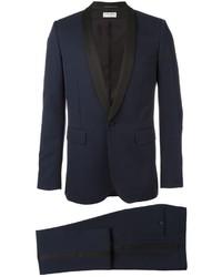 Traje de lana azul marino de Saint Laurent