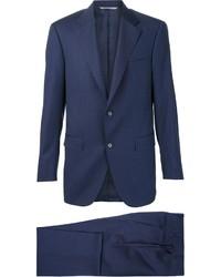 Traje de lana de rayas verticales azul marino