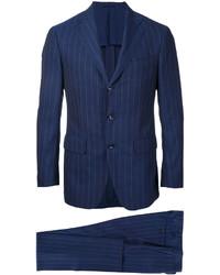 Traje de lana de rayas verticales azul marino de ESTNATION