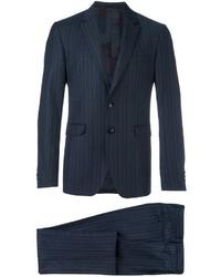 Traje de lana de rayas verticales azul marino de Etro