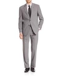 Traje de lana de rayas verticales gris