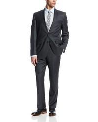 Traje de rayas verticales en gris oscuro de Ike Behar