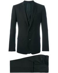 Traje de tres piezas de lana en marrón oscuro de Dolce & Gabbana