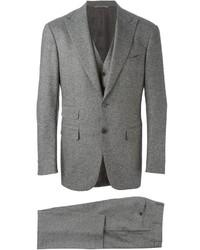 Traje de tres piezas de lana gris