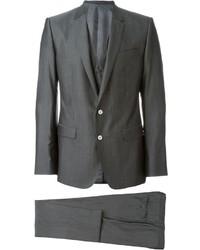 Traje de tres piezas de lana gris de Dolce & Gabbana
