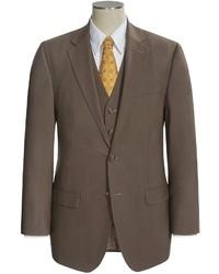 Traje de tres piezas de lana marrón