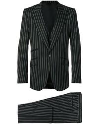 Traje de tres piezas de rayas verticales negro de Dolce & Gabbana