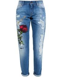 Vaqueros bordados azules de Dolce & Gabbana