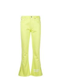 Vaqueros de campana en amarillo verdoso de MSGM