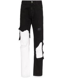 Vaqueros desgastados en negro y blanco de Raf Simons