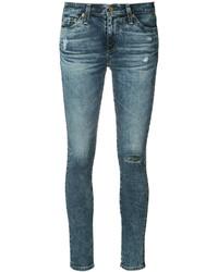 Vaqueros pitillo de algodón desgastados azules de AG Jeans