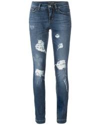 Vaqueros pitillo de algodón desgastados azules de Dolce & Gabbana