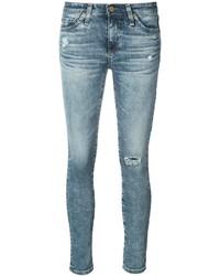 Vaqueros pitillo de algodón desgastados celestes de AG Jeans