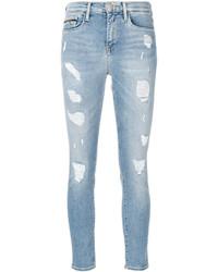 Vaqueros pitillo de algodón desgastados celestes de CK Calvin Klein