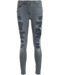 Vaqueros pitillo de algodón desgastados en gris oscuro de 3x1