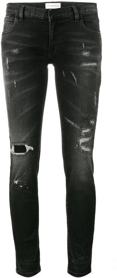 Vaqueros pitillo de algodón desgastados negros de Faith Connexion