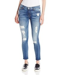 Vaqueros Pitillo Desgastados Azules de 7 For All Mankind