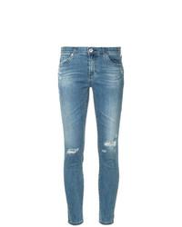 Vaqueros pitillo desgastados celestes de AG Jeans