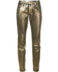 Vaqueros pitillo dorados de Philipp Plein