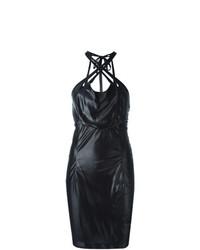 Vestido ajustado de cuero negro de Krizia Vintage