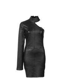 Vestido ajustado de cuero negro de RtA