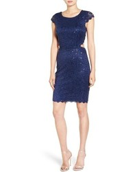 Vestido ajustado de encaje azul marino