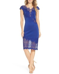 Vestido ajustado de encaje azul