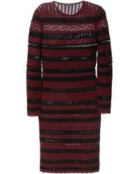 Vestido ajustado de rayas horizontales burdeos de Alexander McQueen