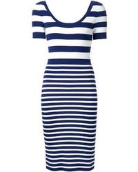 Vestido ajustado de rayas horizontales en blanco y azul marino de Michael Kors