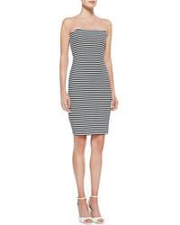 Vestido ajustado de rayas horizontales gris