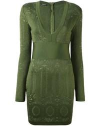 Vestido ajustado verde oliva de Balmain