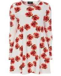 Vestido amplio con print de flores en blanco y rojo