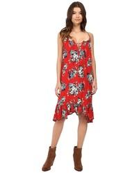 Vestido amplio con print de flores rojo