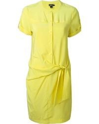 Vestido camisa amarilla de DKNY