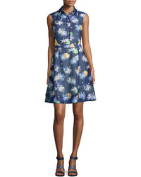 Vestido camisa con print de flores azul marino