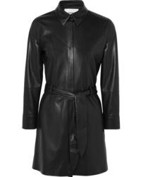 Vestido camisa de cuero negra