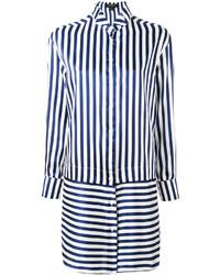 Vestido camisa de rayas verticales azul marino de Burberry