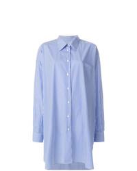 Vestido camisa de rayas verticales azul de Maison Margiela