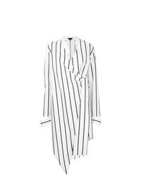 Vestido camisa de rayas verticales blanca de Ji Oh