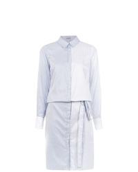Vestido camisa de rayas verticales celeste de Tufi Duek