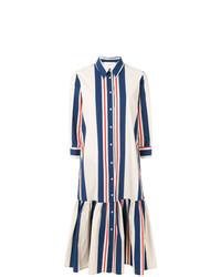 Vestido camisa de rayas verticales en blanco y azul marino de La Doublej