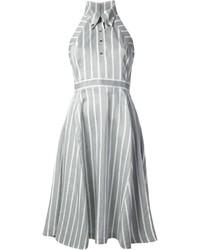Vestido camisa de rayas verticales gris
