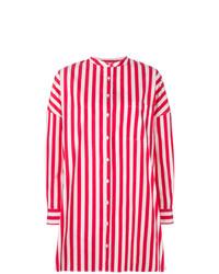Vestido camisa de rayas verticales roja de Aspesi