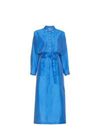 Vestido camisa de seda azul de ATTICO