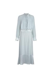 Vestido camisa de seda celeste de Burberry
