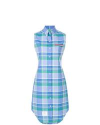 Vestido camisa de tartán azul de Thom Browne